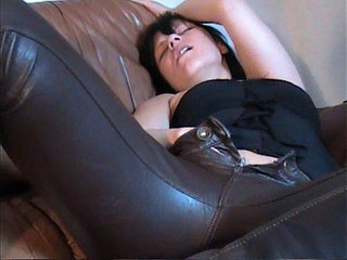 Horny girl in brown leather pants masturbating on leather couch | couchgirlhornyleathermasturbation