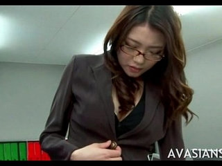 Stressed out asian secretary toy fingered in the office | asianofficesecretarytoys