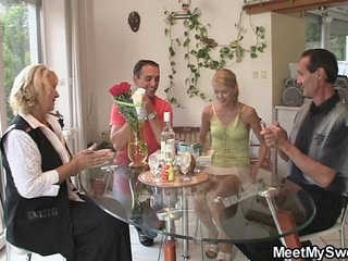 Her birthday ends up with family threesome   3somefamily