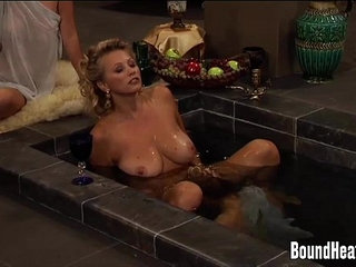 Slave Uses Her Big Natural Tits To Massage Mistress | massagemistressnatural titsslave