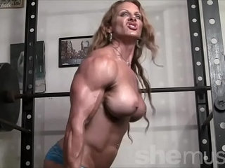 Naked Female Bodybuilder Redhead Cougar Topless in Gym | cougarfemalegymnakedredheadtopless