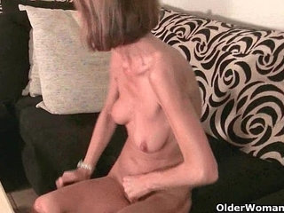 Skinny grandma massages her small tits and rubs her tight pussy | grandmamassageskinnysmall titstight
